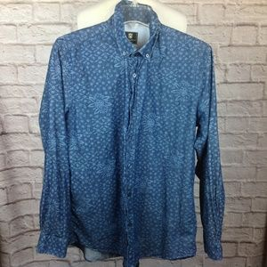 Steel Jelly London Shirt Men Large Button Down Blu